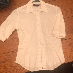 Ralph Lauren 3/4 sleeve white stretch button down